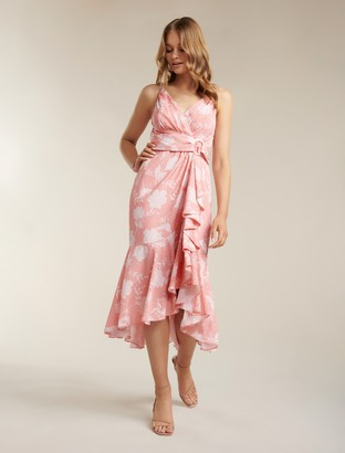 Forever New Ivy Waterfall Midi Dress - Coral Linear Spray - 10