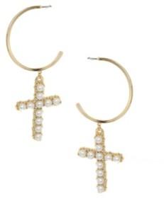 Ettika Cross Drop Hoop Imitation Pearl Earrings