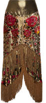 Anna Sui Fringed Flocked Lamé Midi Skirt - Gold