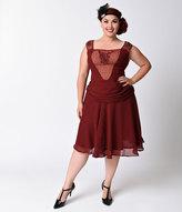 Unique Vintage Plus Size 1920s Beaded Burgundy La Plante Chiffon Flapper Dress