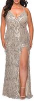La Femme Plus Size Fringe Sequin V-Neck Cross-Back Column Gown