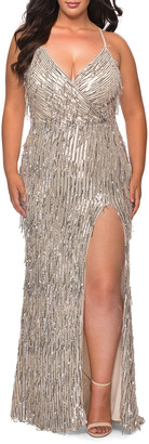 La Femme Plus Size Fringe Sequin V-Neck Cross-Back Column Gown