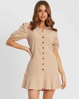Calli - Women's Brown Mini Dresses - Soraya Shirt Dress - Size 12 at The Iconic