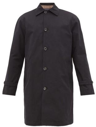 Thom Sweeney - Single-breasted Poplin Raincoat - Mens - Navy