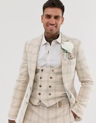Asos Design DESIGN wedding super skinny suit jacket in cream wool blend houndstooth-Beige