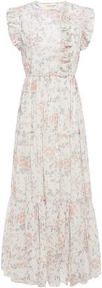 Maje Rosee Ruffled Floral-print Cotton-gauze Maxi Dress