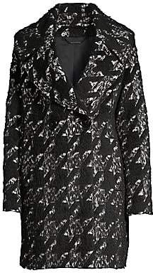 Elie Tahari Women's Shiloh Oversized Houndstooth Double-Breasted Wool-Blend Trench Coat