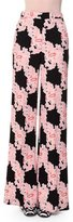 MSGM Lace-Print Wide-Leg Trousers, Multicolor