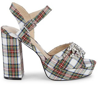 RENVY Embellished Plaid Sandals
