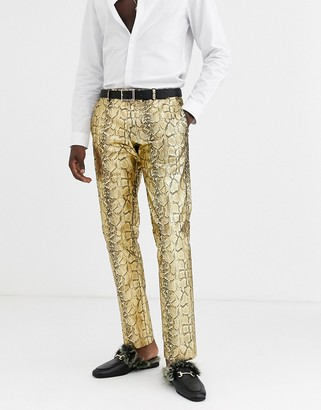 Twisted Tailor skinny suit trousers in gold snake print