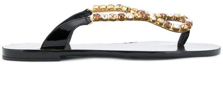Dolce & Gabbana embellished thong flat sandals