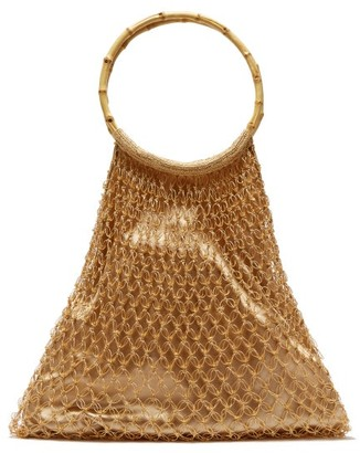 My Beachy Side - Aphrodite Bamboo Handle Beaded Crochet Bag - Womens - Gold