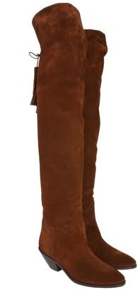 Saint Laurent Tassels Pointed Knee-High Boots