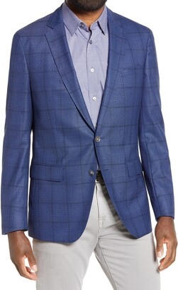 HUGO BOSS Hartlay Trim Fit Plaid Wool Sport Coat