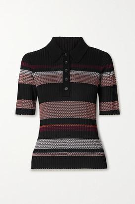 Proenza Schouler Striped Ribbed-knit Polo Shirt