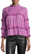 Isabel Marant Loxley Smocked 3/4-Sleeve Blouse, Pink