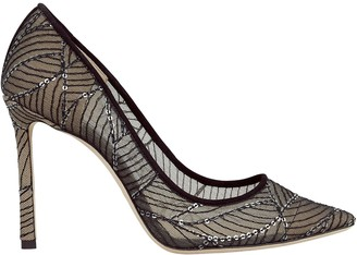 Jimmy Choo Romy 100 Embroidered Mesh Pumps