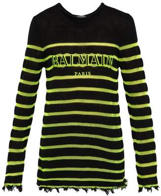 Balmain Distressed Logo Embroidered Striped Sweater - Mens - Black Yellow