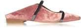 Malone Souliers Maureen Flat Pink and Charcoal Velvet and Leather Mules