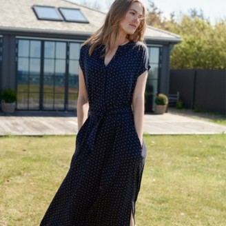 The White Company Tile Print Jersey Dress, Navy, 18