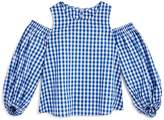 Aqua Girls' Cold-Shoulder Gingham Top, Big Kid - 100% Exclusive