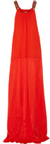 Lanvin Embellished stretch-jersey and silk-satin maxi dress