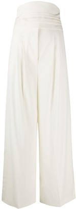 MSGM High-Waisted Wide-Leg Trousers