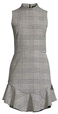 Alice + Olivia Women's Rapunzel Glen Plaid Mockneck Flounce Hem Sheath Dress