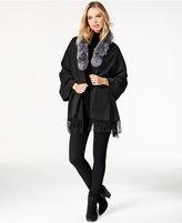 Surell Fox Fur Collar Fringe Cape