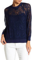 Line & Dot Long Sleeve Sheer Lace Woven Shirt
