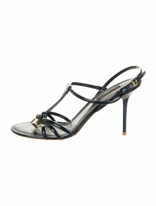 Louis Vuitton Patent Leather T-Strap Sandals Blue
