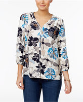 Charter Club Floral-Print V-Neck Blouse, Only at Macy's
