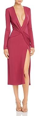 Cushnie Plunging Twist Detail Midi Dress