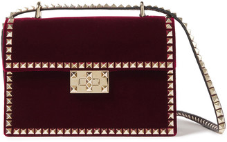 Valentino Rockstud Velvet Shoulder Bag