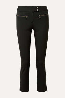 Veronica Beard Metro Cropped Zip-embellished Stretch-twill Flared Pants - Black