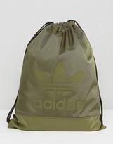 adidas Drawstring Backpack In Khaki