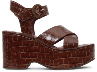 STAUD Jane Croc-Embossed Platform Wedge Sandals