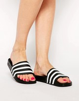 adidas Adilette Black & White Stripe Slider Sandals
