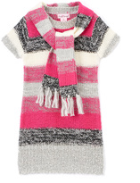 Pink Angel Fuchsia & Black Stripe Sweater Dress & Scarf - Toddler & Girls