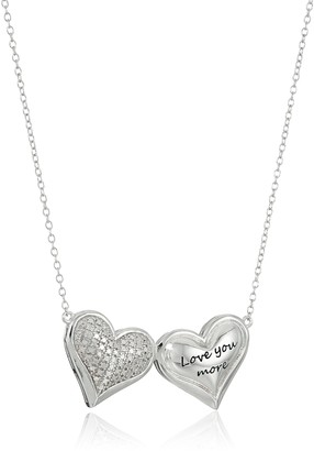 """Amazon Collection Sterling Silver Diamond Accent """"Love You More"""" Double Puff Hearts Necklace 16"""" + 2"""" Extender"""