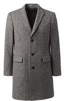 Lands' End Men's Tailored Fit Abraham Moon Wool Peak Lapel Topcoat-Black
