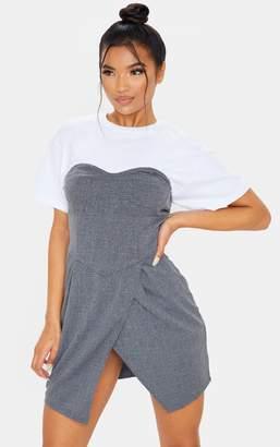 PrettyLittleThing Dark Grey Check Pleated Front Split Detail Shift Dress