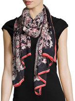 Roberto Cavalli Jean Printed Silk Stole, Black/Red