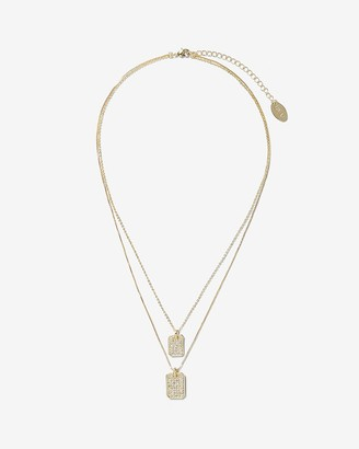 Express Luv Aj Pave Double Dog Tag Necklace