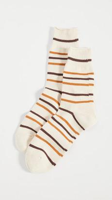 R & E Re Cotton Stripe 3q Socks