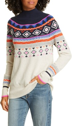 Autumn Cashmere Mock Neck Fair Isle Cashmere Sweater