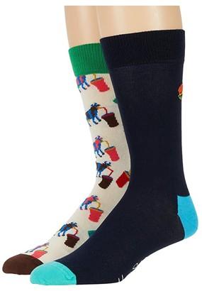 Happy Socks 2-Pack Junk Food Socks Gift Set (Medium Yellow) Men's Crew Cut Socks Shoes