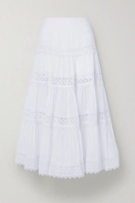 Charo Ruiz Ibiza Ruth Crocheted Lace-trimmed Cotton-blend Voile Maxi Skirt - White