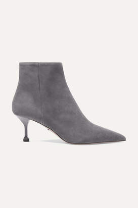 Prada 65 Suede Ankle Boots - Gray
