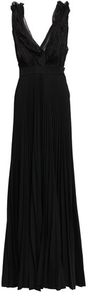 Victoria Beckham Draped Organza-paneled Pleated Wool Gown